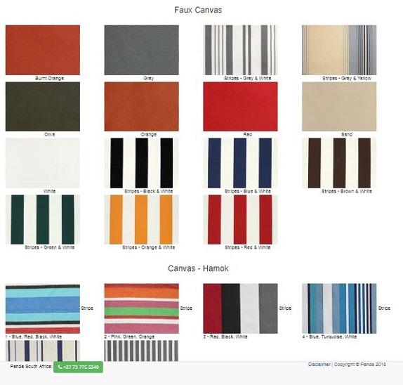 12. Faux Canvas Colour Options